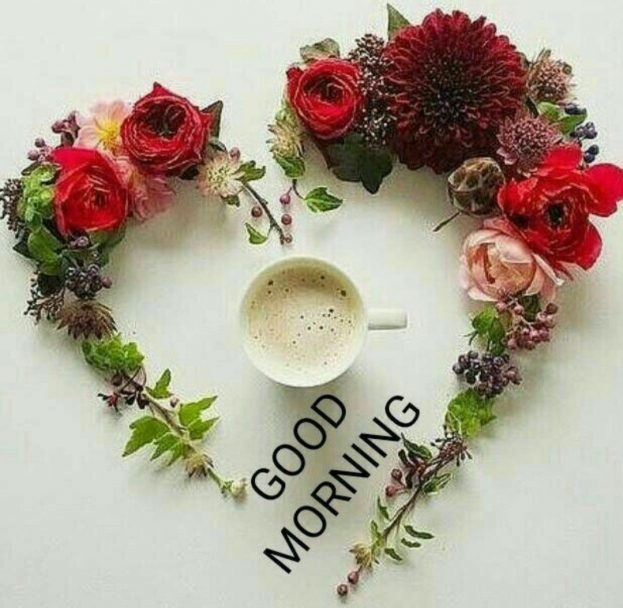 Good Morning Flower Hearts & Coffee - Good Morning Images, Quotes, Wishes, Messages, greetings & eCard Images